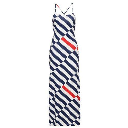Sukienka w paski bonprix biało-niebiesko-czerwony w paski, kolor biały
