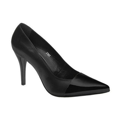 Czółenka szpilki 2101-6l+6-n black czarne lakierki - czarny marki Mateo palazzo