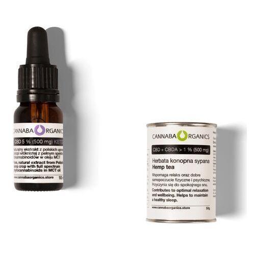 Zestaw 1 buteleczka 10 ml z olejem 5% CBD+MCT bez chlorofilu i herbata konopna