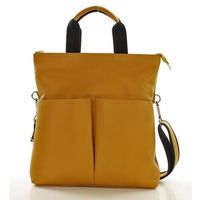 Żółta nowoczesna torebka skórzana mazzini