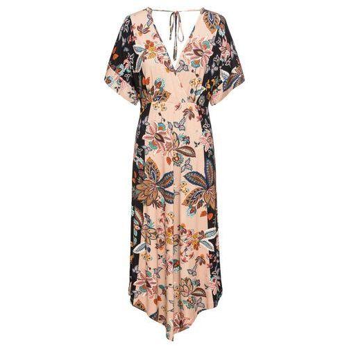 76967feb9a66c ... Sukienka shirtowa z drapowaniem bonprix czarno-śliwkowy melanż, kolor  beżowy - Foto Sukienka shirtowa ...