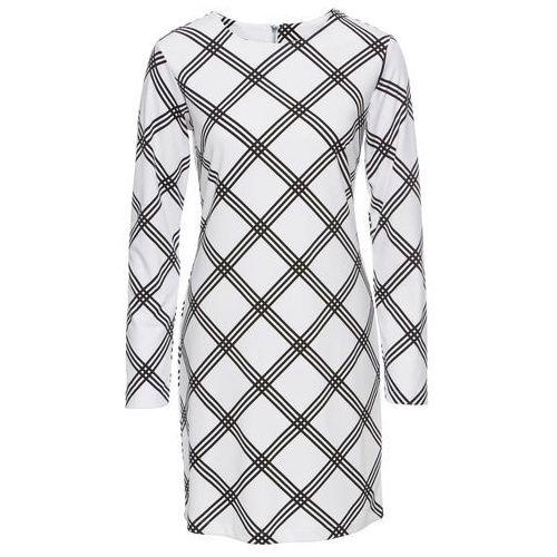 Bonprix Sukienka z dżerseju biało-czarny w kratę