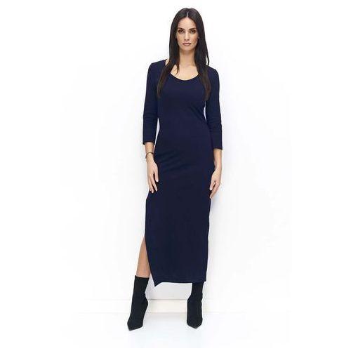 921f697cbd Granatowa sukienka dresowa maxi z rozcięciem