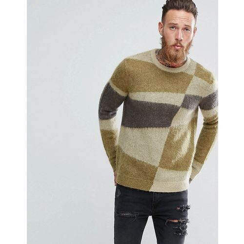 Mohair wool blend jumper with blocked design - green Asos