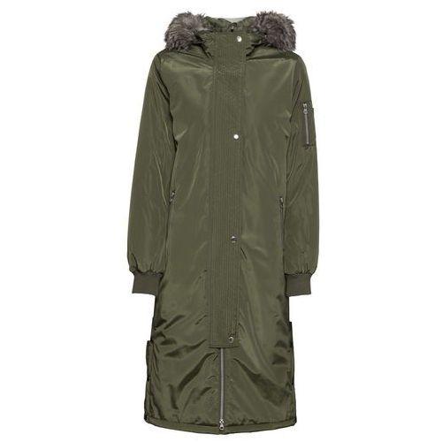 Płaszcz z kapturem i napami po bokach bonprix ciemnooliwkowy, poliester