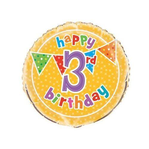 7475b81a842bae Balon foliowy happy birthday na 3 urodziny - 47 cm (UNIQUE) recenzje ...