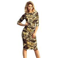 Miodowa sukienka dopasowana swetrowa z marszczeniami w liście