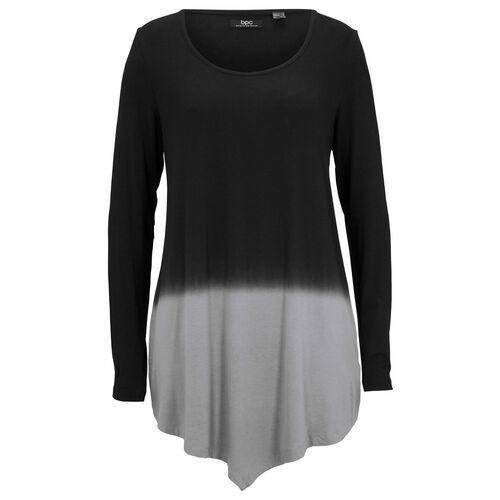 Shirt z dołem w szpic i efektem cieniowania bonprix czarno-szary, z