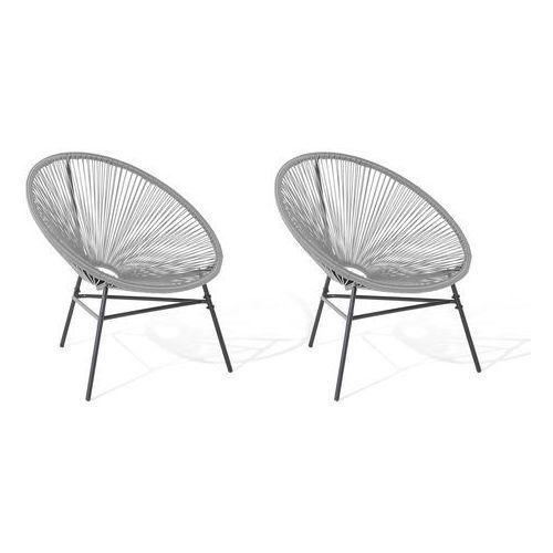 Zestaw 2 krzeseł rattanowych szary acapulco (Beliani)