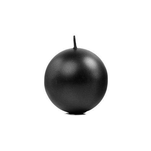 """Świeca """"Kula"""" metaliczna, czarna - 4,5 cm - 1 szt. (5901157441188)"""