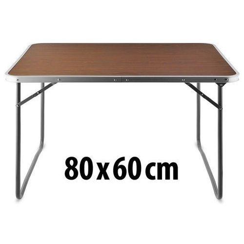 Aluminiowy brązowy składany stolik turystyczny mdf - brązowy marki Wideshop