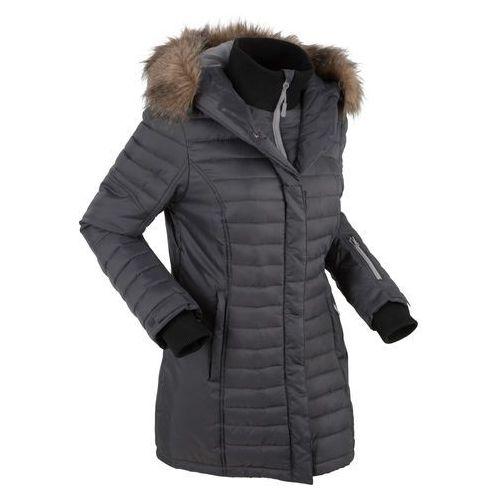 Długa kurtka outdoorowa pikowana bonprix szary łupkowy, pikowana
