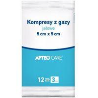 Kompresy z gazy jałowe apteo 5 x 5cm x 3 sztuki marki Synoptis pharma