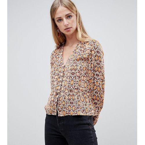 Mango snake print button detail v neck blouse in multi - Multi