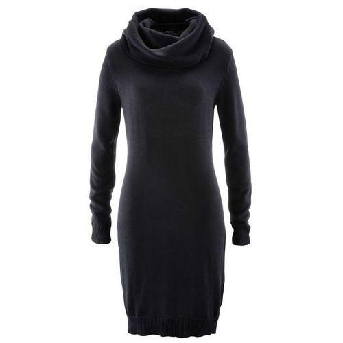 Sukienka dzianinowa z golfem czarny, Bonprix, 32-50
