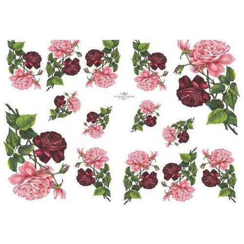 Papier do decoupage A3 ITD 352 róże czerw./róż. x1