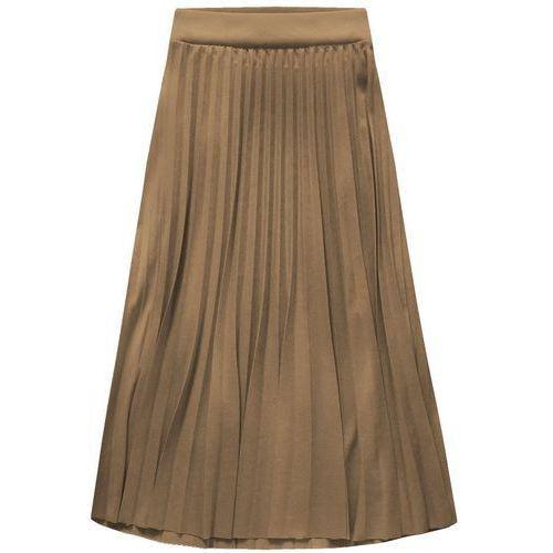 Plisowana spódnica midi cappucino (140art) - beżowy, Made in italy