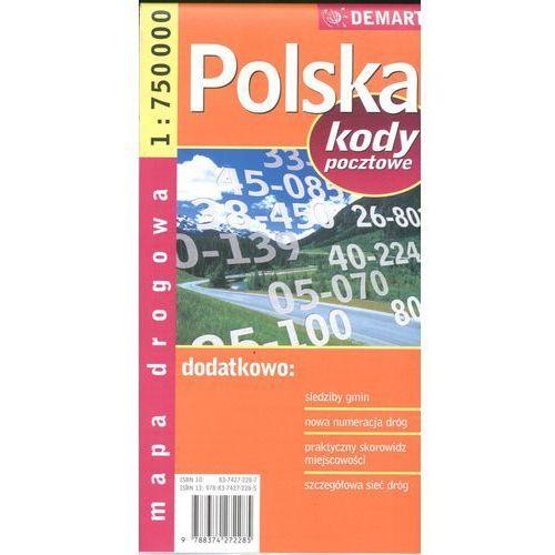 Polska. Mapa samochodowa. Kody pocztowe 1:750 000