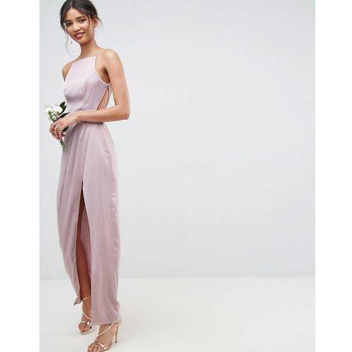 bridesmaid drape front strappy back maxi dress - pink, Asos design