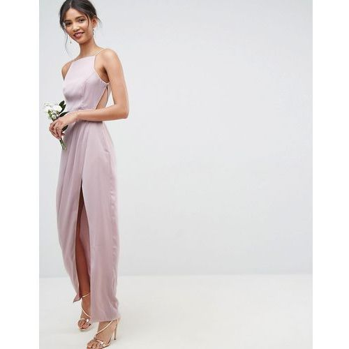 design bridesmaid drape front strappy back maxi dress - pink, Asos