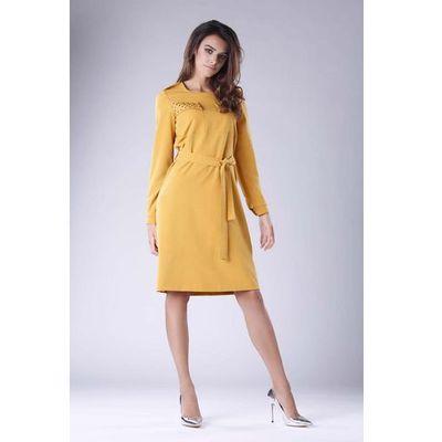 f9ca7733091532 Kamelowa Rozkloszowana Sukienka Zdobiona Dżetami, w 6 rozmiarach MOLLY