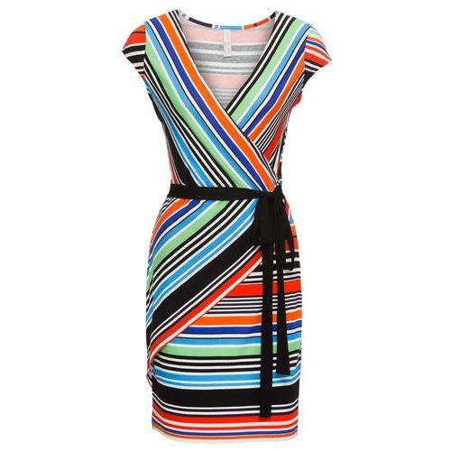 Sukienka w paski bonprix pomarańczowo-czerwono-niebieski w paski, w 8 rozmiarach