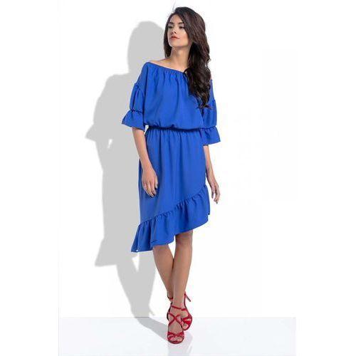 Chabrowa Asymetryczna Sukienka Hiszpanka z Rękawami do