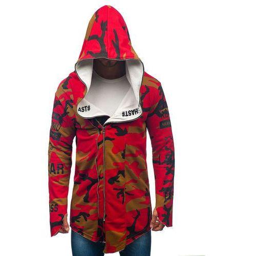 Bluza męska z kapturem z nadrukiem moro-czerwona Denley 0796-1, z