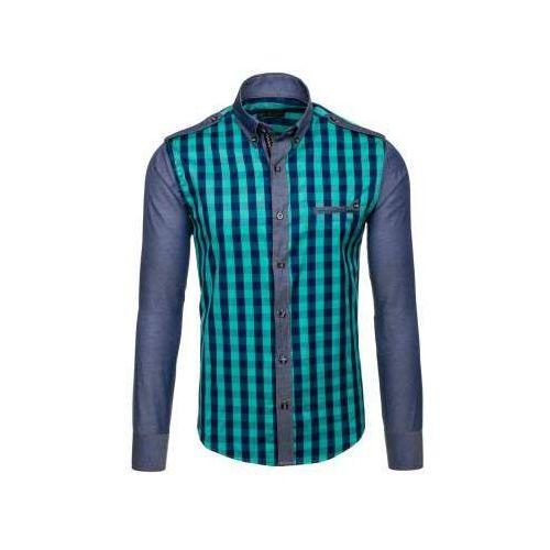 Koszula męska w kratę z długim rękawem turkusowa 7704 Bolf