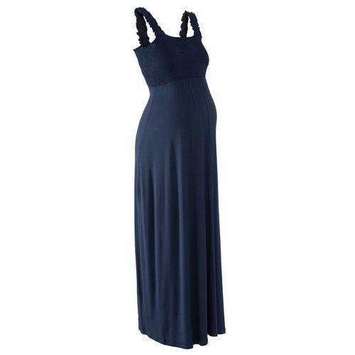 Długa sukienka shirtowa ciążowa ciemnoniebieski marki Bonprix