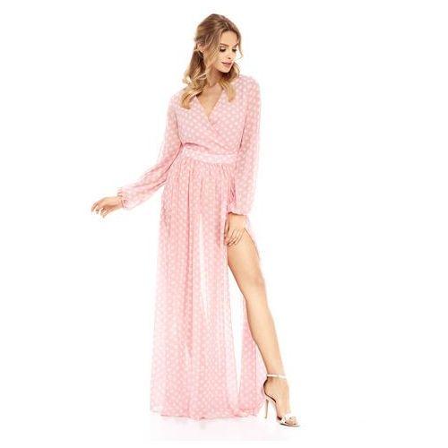 Sukienka Penelopa różowa w białe kropki, kolor różowy