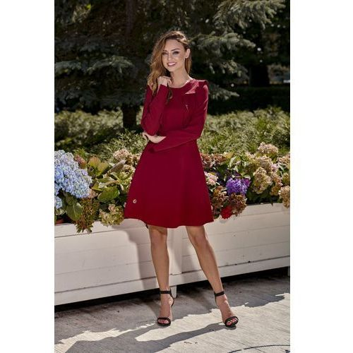 1828787bca Zobacz ofertę Klasyczna sukienka z długim rękawem L271 bordo. Lemoniade