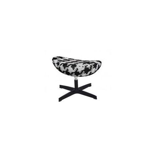 Podnóżek Egg Classic Black Duża Pepitka Tkanina Podstawa Czarna King Home
