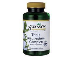 Swanson, Triple Magnesium complex, 400mg, 100 kapsułek - Długi termin ważności! DARMOWA DOSTAWA od 39,99zł do 2kg!