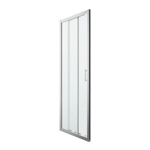 Goodhome Drzwi prysznicowe przesuwne beloya trójdzielne 80 cm chrom/transparentne (3663602944966)