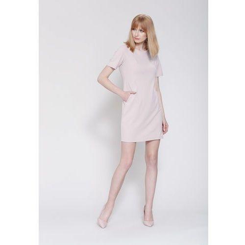 Beżowa Sukienka Miss Right, kolor beżowy