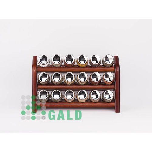półka z przyprawami 18-el ciemne drewno połysk 5901832920571 marki Gald