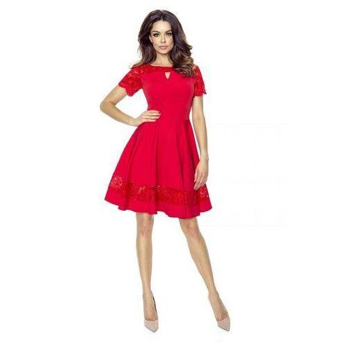 Koktajlowa sukienka z koronkowymi wstawkami, w 3 rozmiarach