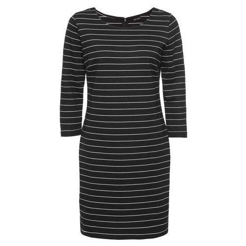 Bonprix Sukienka w paski czarno-biały