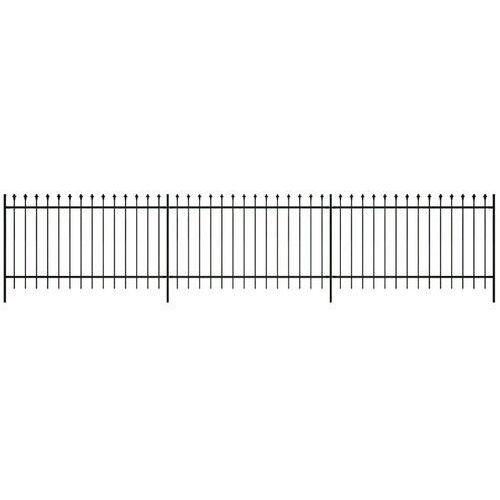 vidaXL Ogrodzenie palisadowe ze stali, szpiczaste zakończenie czarne 120 cm (8718475879497)
