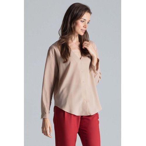 Beżowa elegancka koszula z dekoltem w serek, 1 rozmiar