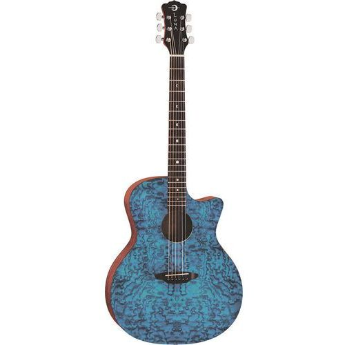 gypsy exotic quilted ash trans blue gitara akustyczna marki Luna