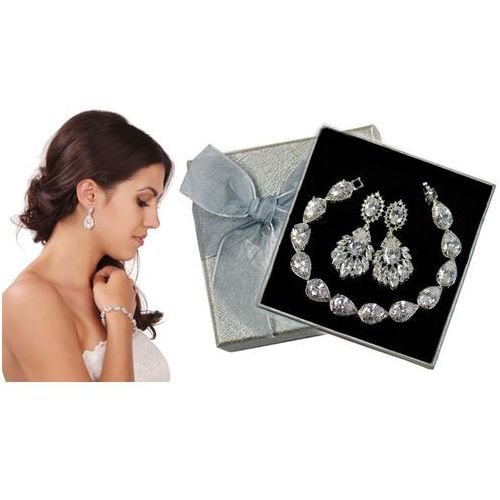 Mak-biżuteria Kpl876 komplet ślubny, biżuteria ślubna z cyrkoniami b599/425 k686/6