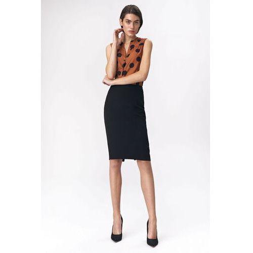Ołówkowa spódnica z dekoracyjnym zamkiem - czarna - SP47, kolor czarny