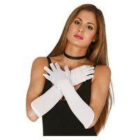 Rękawiczki karnawałowe białe długie - 45 cm.