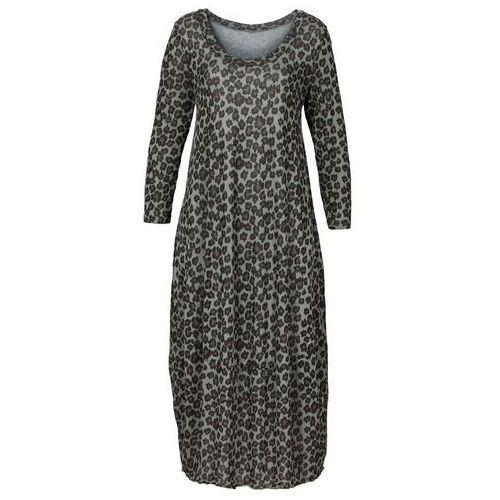 Długa sukienka bonprix szary leo, kolor szary