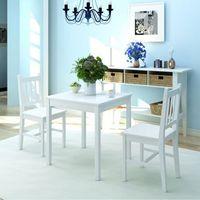 vidaXL Zestaw mebli do jadalni 3 elementy drewno sosnowe biały (8718475977681)
