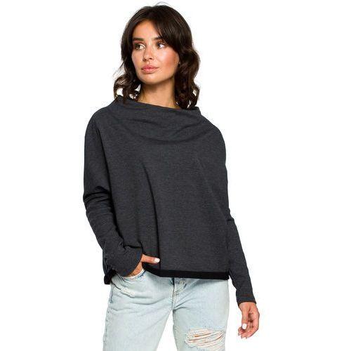 3024ab4b21 Luźna bluza damska z dekoltem z tyłu grafitowa B094