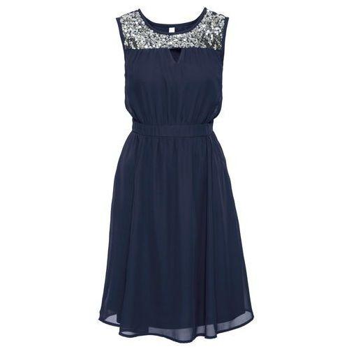 Sukienka wieczorowa z cekinami niebieski marki Bonprix