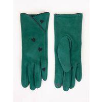 Rękawiczki damskie zielone zamszowe z haftowanymi serduszkami dotykowe 23